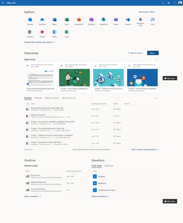 Úvodní stránka Office 365