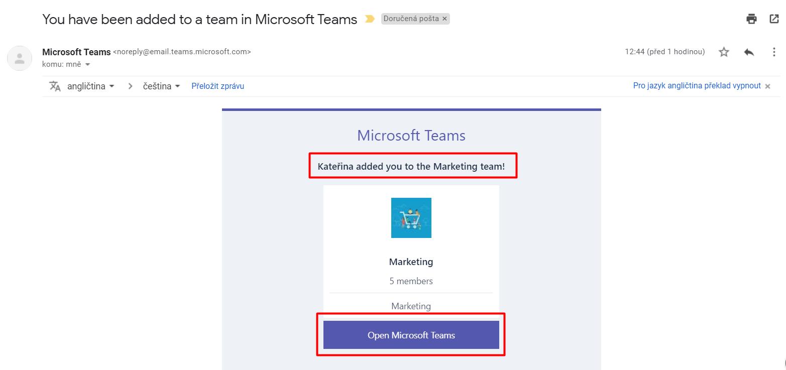 Zvací email do týmu MS Teams